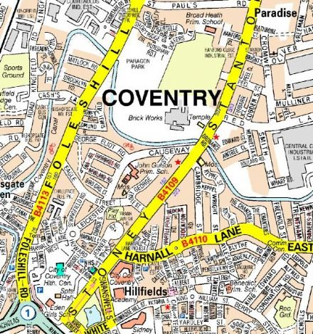 Coventry A - Z Wall Map